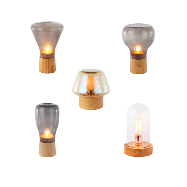SY-GWTL727-Wooden Glass Table Light in Different Shape